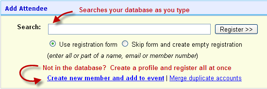 Add attendees to the event from the database or manually