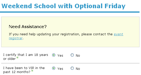 Updating a registration as an attendee