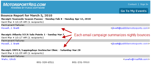 Nightly bounce report email summarizes temporary and permanent failures for each email campaign you send