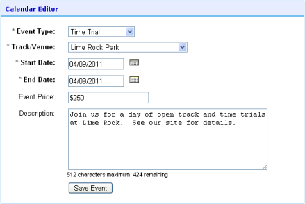 Basic calendar listing fields