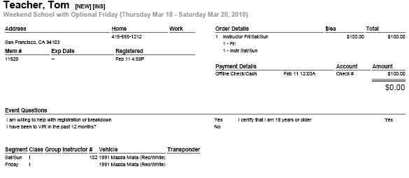 Sample Registration Details report