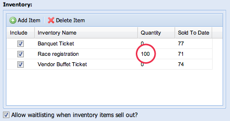 Inventory Item Settings