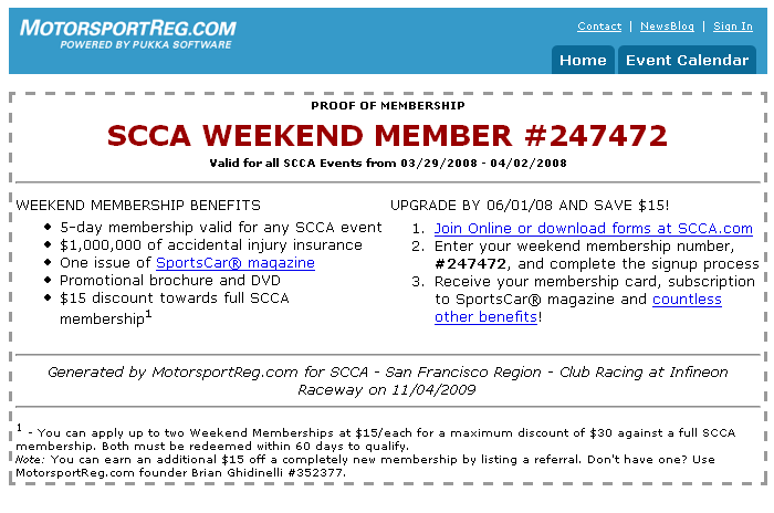 Weekend membership certificate
